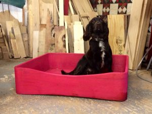 dog bed, solid wood dog bed, bespoke dog bed