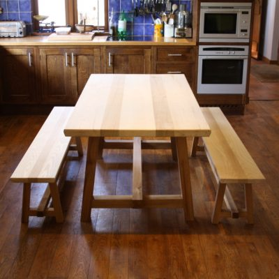 kitchen table, ash and oak table